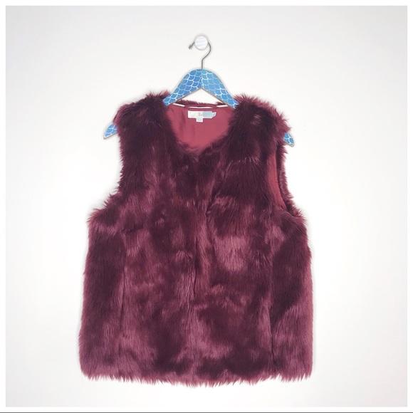 Boden Sienna Maroon Faux Fur Hook Clasp Vest